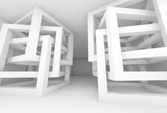 Abstract 3d white modern interior with chaotic cubes. Abstract empty 3d white modern interior with chaotic cube constructions Stock Photo