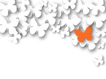 Abstract 3D white paper butterflies. Lonely orange butterfly. Cut-out from paper. Vector illustration Royalty Free Stock Photos