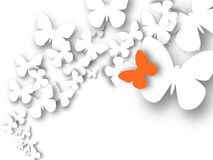 Abstract 3D white paper butterflies. Lonely orange butterfly. Cut-out from paper. Vector illustration Stock Photography
