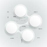 Abstract 3 d white paper circle on circuit board Royalty Free Stock Photo