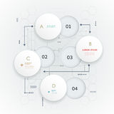 Abstract 3D white paper circle on circuit board. Abstract 3D white paper circle. Simply infographic step by step template design. Vector can be used for workflow Royalty Free Stock Image