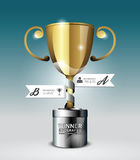 Abstract 3d winner trophy Infographic Design style template. Royalty Free Stock Photography