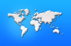 Abstract 3d world map. On blue background stock illustration
