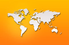 Abstract 3d world map. On orange background vector illustration