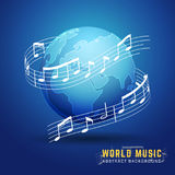 Abstract 3D World Music Design Concept. Melody Notes Score Around The Earth. Vector Illustration Stock Image