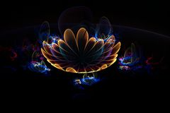 Abstract 3d yellow fire flower on black background. Creative fractal design Royalty Free Stock Images