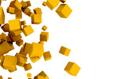 Abstract 3d yellow or golden cubes. Abstract background of 3d yellow or golden cubes in different sizes tumbling across a white background with copyspace in a Stock Images