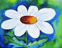 Abstract daisy. Watercolour painting with ink drawn elements, created by the photographer Stock Images