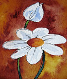 Abstract Daisy On Orange Background. Watercolour painting with ink drawn elements, created by the photographer Stock Photos
