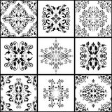 Abstract damask patterns set of nine seamless in retro style for design use. In black and white colors. Vector illustration Royalty Free Stock Image