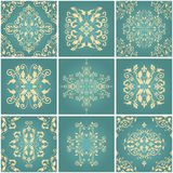 Abstract damask patterns set Royalty Free Stock Image