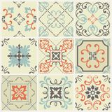 Abstract damask patterns set of nine seamless in retro style for design use. Vector illustration. Abstract damask patterns set of nine seamless in retro style Royalty Free Stock Photos