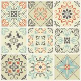 Abstract damask patterns set of nine seamless in retro style for design use. Vector illustration. Abstract damask patterns set of nine seamless in retro style Stock Photography
