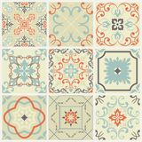 Abstract Damask Patterns Set Of Nine Seamless In Retro Style For Design Use. Vector Illustration. Royalty Free Stock Image