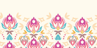 Abstract damask tulips horizontal seamless pattern Stock Photography
