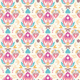 Abstract damask tulips seamless pattern background Stock Image