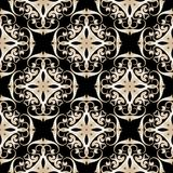 Abstract damask vector seamless pattern. Ornamental patterned arabesque background. Decorative vintage ornaments in baroque style. Beige design on the black Vector Illustration