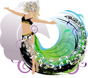 An abstract dance girl with decorative elements Royalty Free Stock Image