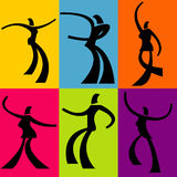 Abstract dancer backgrounds. A collection of 6 abstract, illustrated dancers on different colored backgrounds Royalty Free Stock Photo