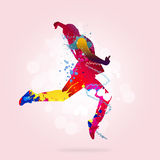 Abstract dancer. Image with color silhouette of dancer on color background Royalty Free Stock Images