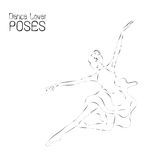 Abstract dancer line art; ballerina performance poses illustration. Stock Images