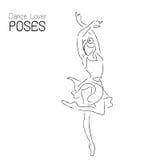 Abstract dancer line art; ballerina performance poses illustration. Stock Photography