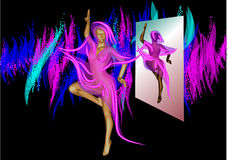 Abstract dancer and mirror Royalty Free Stock Image
