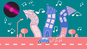 Abstract dancing city in a flat style with a vinyl plate instead of the sun with curved houses with notes with trees with a road a royalty free illustration