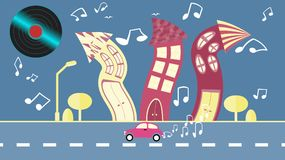 Abstract dancing city in a flat style with a vinyl plate instead of the sun with curved houses with notes with trees with a road a. Nd car clouds on a blue Royalty Free Stock Image