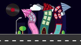 An abstract dancing city in a flat style with a vinyl plate, a sun-smect with curved houses at night with trees and bushes, clouds royalty free illustration