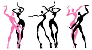 Abstract dancing figures. White background. Vector illustration Royalty Free Stock Photography