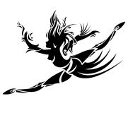 Abstract dancing girl. Vector. Abstract dancing girl in tattoo style. Vector Royalty Free Stock Photo
