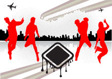 Abstract dancing people. With silhouettes of young dynamic teens Stock Photos
