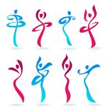 Abstract Dancing People women silhouettes for your logo, labels,. Emblems Stock Image