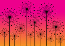 Abstract dandelions silhouettes background Stock Photo