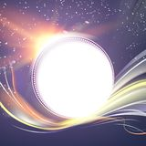 Abstract dark background. Flashing particles fly through dark space. royalty free illustration