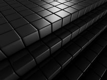 Abstract Dark Background Of Metallic Cubes. 3d Render Illustration Stock Photos