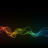 Abstract Dark Background with Rainbow Wave Lines. Smooth Wavy Glowing Horizontal Bands royalty free illustration