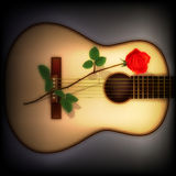 Abstract dark background with rose and guitar Stock Photos