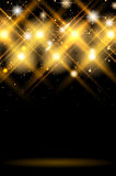 Abstract dark background with shiny golden lights. Copy space for your text or object. Vector illustration royalty free illustration