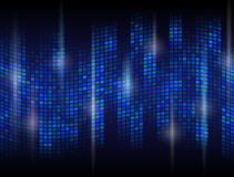 Abstract dark background with undulating mosaic. Tessellated wave with flare effects. Qualitative vector (EPS-10) backdrop in blue colors. It has transparency Stock Photo