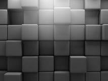 Abstract Dark Block Cubes Construction Wall Background. 3d Render Illustration Stock Photography