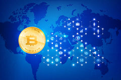 Abstract dark blue background bitcoin concept with print circuit. Board world map and lighting element vector illustration eps10 Stock Images