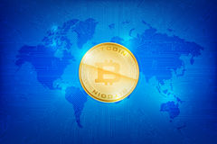 Abstract dark blue background bitcoin concept with print circuit. Board world map and lighting element vector illustration eps10 Royalty Free Stock Images