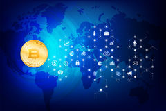 Abstract dark blue background bitcoin concept with print circuit. Board world map and lighting element vector illustration eps10 Stock Image