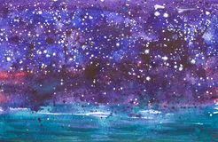 Abstract dark blue background with stars. Watercolor illustration vector illustration