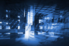 Abstract dark blue 3d digital background. Hi-tech concept. Illustration Stock Photos