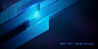 Abstract dark blue 3D geometric high-tech digital background stock photo