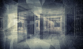 Abstract dark blue digital 3d interior background Royalty Free Stock Photography