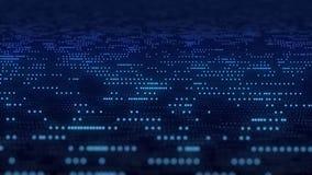 Abstract dark blue digital grid data communication technology background binary code dot running information analyze